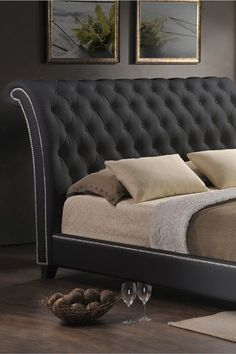 Tufted Modern Bed with Upholstered Headboard.