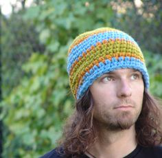 Mans Blue Green and Orange Wide Stripe Chunky by BeehiveCreation, $25.00