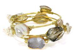 Wire Stone Bangle Set Druzy Grey & White Gold Tone – PennyLuna