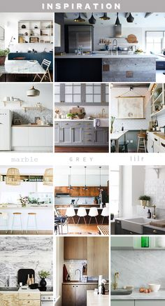 how about marble counters & backsplash; white subway tile above it?