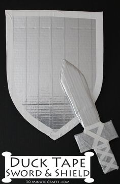 Duck Tape Sword and Shield - 30 Minute Crafts You are in the right place about easy crafts for boys Easy Crafts For Kids, Projects For Kids, Diy For Kids, Fun Crafts, Sword Craft For Kids, Boy Craft, Creative Crafts, Preschool Crafts, Duct Tape Projects