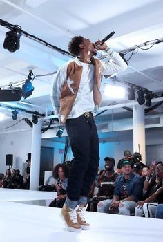 Rapper Desiigner performing onstage during the BET How To Rock: Denim show in August 2016...