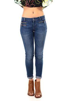 LIU.JO - Jeans - Abbigliamento - Jeans in cotone modello bottom up a cinque tasche con zip di chiusura sul davanti. Tessuto elasticizzato. - BLUE - € 129.00