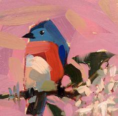 Bluebird & Lilac Branch - 6x6