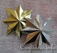 free Illustrated Craft Tutorial - How to Make Eight-Pointed 3-D Metallic Stars... Create these easily using sheets of craft aluminum foil in your color of choice.