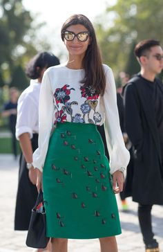 Fashion trends | Printed blouse, green skirt