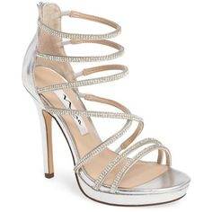 Women's Nina Finessa Embellished Strappy Sandal (€105) ❤ liked on Polyvore featuring shoes, sandals, silver faux leather, nina sandals, low platform sandals, sparkly sandals, low platform shoes and strap sandals