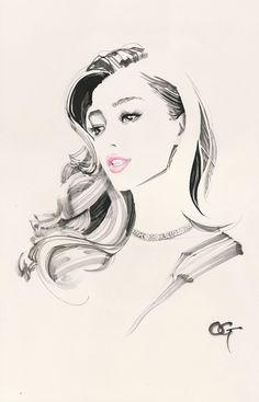 Maria #OHGUSHI #Fashion_illustration #Cosmetic #portrait_painting #watercolor #india_ink #japanese_ink #Bijinga #美人画 #墨