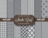 Grey and white Digital paper pack - INSTANT DOWNLOAD - Scrapbook, background, printable, DIY - Maya Patterns - Smoke Grey