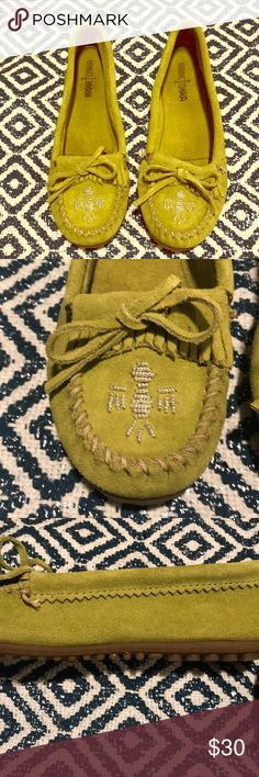 Minnetonka green moccasins Size 8.5 and worn three times. Not my style, but I love the color green! Soles are in excellent condition! Great for springtime boho outfits ladies 💚 Minnetonka Shoes Moccasins
