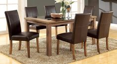 7 PC Light Oak Wood Dining Set Glass Top Chairs Brown Leather Seat