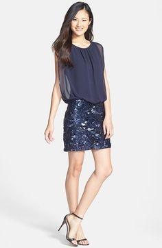 Aidan by Aidan Mattox Sequin Skirt Dress | Nordstrom