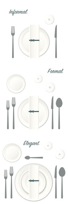 Learn how to set the dinner table for every occasion! Kirkland's shows you tab… Learn how to set the dinner table for every occasion! Kirkland's shows you table settings for informal, formal and elegant events. by gwendolyn Table Place Settings, Table Settings For Weddings, Dining Etiquette, Table Setting Etiquette, Table Manners, Table Set Up, Diy Table, Napkin Folding, Dinner Table