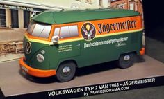 1963`s VW Jagermeister Panel Van Paper Model - by Paper Diorama - == -  This Volkswagen Type 2/T1 Panel van 1963 is fitted with Jägermeister decoration. Such vehicles were used in many countries to deliver the famoys herb-flavoured liqueur to pubs and corner stores. This paper model was created by Paper Diorama Italian team and its scale is 1/35.