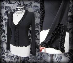 Gothic Romantic Black Frill Split Sleeve Witchy Top S M 10 Vampire Goth Sexy | THE WILTED ROSE GARDEN