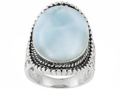 Oval Cabochon Larimar Sterling Silver Ring