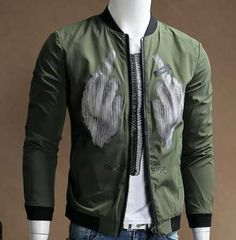 Striped hand bomber jacket for men chest letter heart bitch plus size clothing