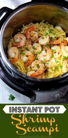3-minute Instant Pot Shrimp Scampi with angel hair pasta! #instantpotshrimpscampi #shrimpscampi #instantpotrecipes via @https://www.pinterest.com/GardeninKitchen/ Instant Pot Meals, Instant Pot Dinner Recipes, Dinner In An Instant, Instant Recipes, Shrimp Recipes, Pasta Recipes, Veggie Recipes, Healthy Shrimp Scampi, Shrimp Scampi Pasta