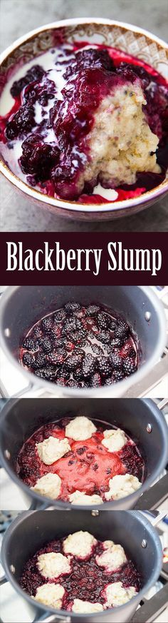 Blackberry Slump! Blackberries cooked on the stovetop with sugar and lemon, topped with dumplings. On SimplyRecipes.com