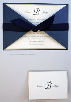 Navy blue and gold invitation with ribbon tie