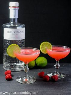 Raspberry Gimlet Cocktail Recipe - gin, lime juice, simple syrup, raspberries