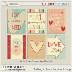 """FREE The Ginger Scraps 6th B-Day """"Falling In Love"""" Facebook Hop From Trixie Scraps Designs [ Tons of freebie ]"""