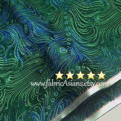 Peacock Fabric. Oriental Fabric. Feather fabric. Green brocade