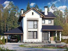 Экономичный дом для небольшой семьи с навесом для машины