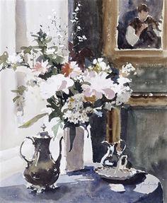 ~ John Yardley: Still life of flowers on a table