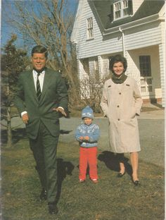 The President-elect with daughter Caroline and pregnant wife Jackie.
