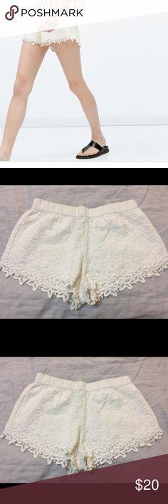 Zara Crochet Shorts New, never worn Zara TRF crochet shorts in white/off white color. Shorts are lined with elastic band. Zara Shorts