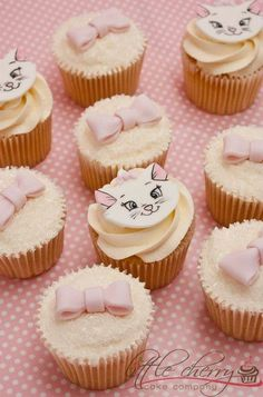 Pink Kitty Cupcakes from Disney's Aristocats!  So sweet, my girls would adore these!: