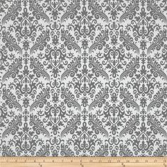 Riley Blake Medium Damask White/Grey from @fabricdotcom  Designed by RBD Designers for Riley Blake, this cotton print is perfect for quilting, apparel and home decor accents.  Colors include white and grey.
