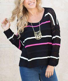 Loving this Black & Pink Stripe Wool-Blend Sweater on #zulily! #zulilyfinds