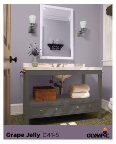 Purple Paint Color Palette for Bathrooms Kitchen Color Palettes, Paint Color Palettes, Purple Paint Colors, Wood Stain Colors, Big Bathrooms, Master Bathroom, Diy Bathroom Decor, Bathroom Ideas, Decorating Rooms