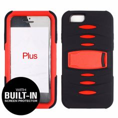"""Apple iPhone 6 Plus (5.5"""") - Horizontal Kickstand Case Solid Black Skin with Red Cover With Attached Screen Protector #onselz"""