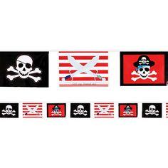Vimpler og Bannere - Piratflaggbanneret består av firkantede flagg, med 3 forskjellige motiver Lengden er 3 meter, og den pynter stilig opp en hver sjørøverfest! #VimplerogBannere Forslag, Banner, Playing Cards, Pirates, Banner Stands, Playing Card Games, Banners, Game Cards, Playing Card