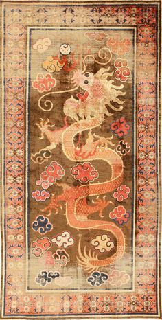 Antique Silk Dragon Chinese Rug 48997