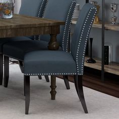 Bring chic style to your dining room or kitchen with this sleek chair, showcasing crisp upholstery and nailhead trim. Upholstered Dining Chairs, Dining Chair Set, Dining Room Chairs, Dining Room Furniture, Rustic Furniture, Home Furniture, Dining Chair Makeover, Office Chairs, Furniture Design