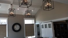Lodder Homes. Interior Design by Elaine Shipley. Lights from Lighting Design.  Clock: http://www.lightingdesign.com/Uttermost/06078/Wall%20Clock%20-%20Peronell