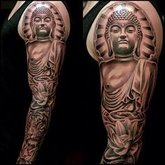 Full sleeve left arm spiritual tattoo of the Buddha; inked in black & gray.