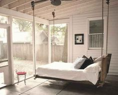 I will have a sleeping porch someday. I will have a sleeping porch someday. I will have a sleeping porch someday. Bed Swing, Outdoor Bed, Home, Hanging Bed, Outdoor Beds, Suspended Bed, Sunroom Designs, Sleeping Porch, Porch Bed