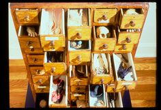 """Collage Chest (detail of work in progress) by Lenore Tawney (1974); assemblage; 37 1/4"""" x 21 1/4"""" x 22"""". (photograph by George Erml)"""