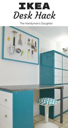 This IKEA desk hack is easy to do with a Rast dresser, Kallax storage unit and a few boards! See the detailed tutorial at The Handyman's Daughter!