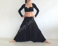 Black jersey harem yoga comfortable baggy by orchideaboutique, $55.00