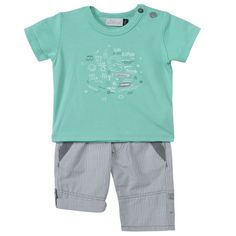 64967b9b16311 Jean Bourget Boys Two Piece Ensemble Aqua Round Neck T Shirt with Blue and  White Checkered Pants