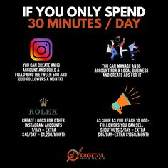 Don't underestimate the power of 30 minutes per day. But at the same time, don't think you have no time to build something meaningful on Instagram. . Look in only half an hour you can do so many things that can build you a following and or/earn you a great side income.
