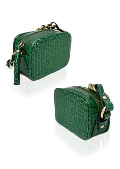 Stunning emerald croc-clutch