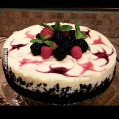 Mixed Berry Cheesecake With An Oreo Crust