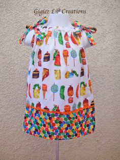 Custom made The Very Hungry Caterpillar Inspired Pillowcase Dress.
